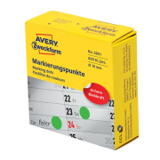 Etikety kruhové 10mm Avery zelené v dispenzore